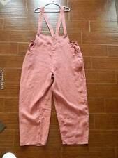 RARE Flax Jeanne Engelhart linen roll up cuff overall jumper large