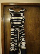 TOMMY HILFIGER Blue & White Striped Dress w/ Attached Belt, SZ - 16