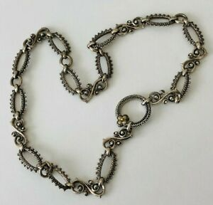 """BARBARA BIXBY Textured Link Necklace Charm Holder Connector 19"""" PLEASE READ!"""