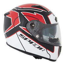 Spada Arc Puzzle White/Red/Black Motorcycle Helmet with Integral Sun Visor