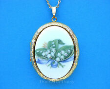 Porcelain LILY of the VALLEY CAMEO Costume Jewelry GT Locket Pendant Necklace BR