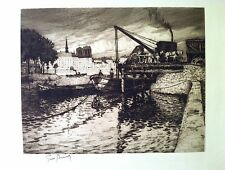 BOISSART : Scène fluviale à Paris, Eau-forte originale signée, 1920