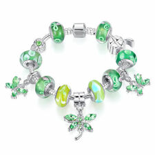 European Sliver Charms Bracelet With Green Bead Fit Women Butterfly DIY Bangles