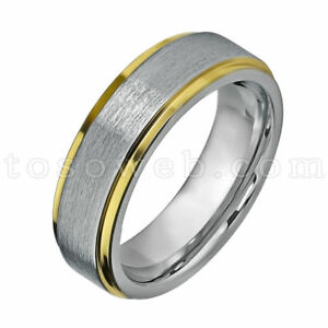 Unisex 6mm Yellow Gold IP Stepped Beveled Edge w/ Brushed Center Tungsten Ring
