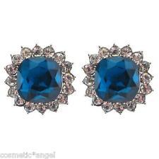 Silver Tone Sapphire Blue & Clear Crystal Diamante Stud Earrings Se01542