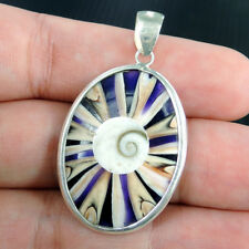 Small Shell & Purple Resin 925 Sterling Silver Pendant, SPIDER SHELL w/ SHIVA