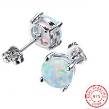 JUNXIN 925 Sterling Silver Round Cut Fire Opal Stud Earrings Women Jewelry 7.4MM