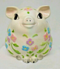 "Vintage - 7"" Tall - Big Eye - Floral Piggy Bank - Ceramic - 1970's"
