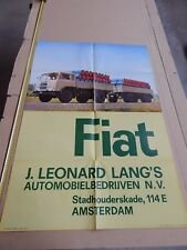 RARO MANIFESTO POSTER ORIGINALE CAMION FIAT 682 AMSTERDAM LEONARD LANG'S