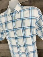 Brooks Brothers 346 Short Sleeve Button Down Shirt Mens Size M Medium [A-1303]