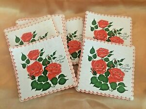 27 VINTAGE SQUARE PAPER COASTERS-THE CENTENNIAL ROSE-SCRAPBOOKING