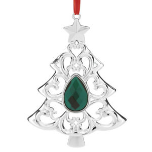 NEW in Box Lenox Gemmed Tree Silverplate Christmas Ornament Green Crystal Stone