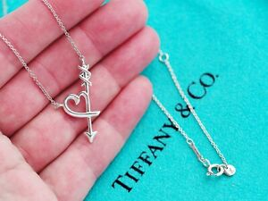 Tiffany & Co Sterling Silver Chain Solid Necklace Picasso Heart Arrow Pendant