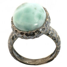 De Buman Sterling Silver 9.97ctw Larimar Ring, Size 7