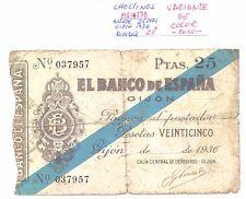 BILLETE DE 25 PESETAS AÑO 1936 GIJON ( roturas variante color, raro) ( MB11278 )