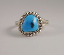 Navajo Handmade Turquoise Ring Set In Sterling Silver Size-9.5
