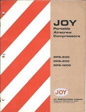 Equipment Brochure - Joy - RPS-600 900 1200 Portable Airscrew Compressor (E4266)