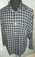 180 E33 SIGNUM Camisa De Hombre Talla M NEGRO BLANCO CUADROS manga larga