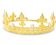 New Gold Men's Crown with Imitated Faux White Pearl Gem Party Regal King Royalty