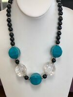 Vintage Large Lucite Beaded Turquoise Clear Black Bold Statement Necklace
