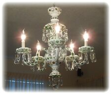 Antique Vintage Czech Bohemian Lustre Crystal Hand Painted Chandelier