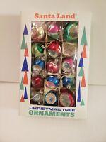 Vintage Santa Land Glass Mica Indent Teardrop Christmas Ornaments Poland