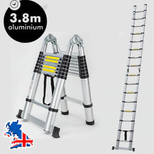 3.8m (1.9+1.9m) MULTI-PURPOSE TELESCOPIC FOLDING LADDER ALUMINIUM EXTENSION STEP