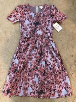 NWT Lularoe Amelia Dress Fit & Flare W/ Pockets S Small Gray Lilc Pink Sunflower