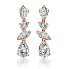 Crystal Water droplets Butterfly Stick Earrings 18K Rose Gold Filled Gift Long