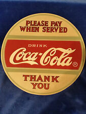 "COCA COLA Wood 12"" Key Holder - 10 Hooks - Please Pay When Served - COKE"