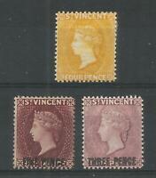 SAINT VINCENT 1890-1897  4d yellow, 5d on 6d, 3d on 6d, SG 56, 60a, 63 MM