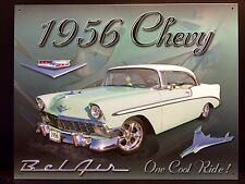 1956 Blue Classic BelAir TIN SIGN Chevrolet  Metal Poster Antique Car Wall Decor