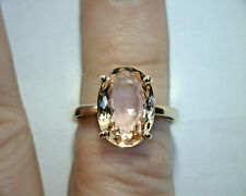 14K ROSE GOLD RING, 5.23 CT OVAL NATURAL PEACH PINK MORGANITE, UNTREATED, BRAZIL