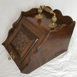 Antique Victorian Wooden Coal Scuttle / Purdonium. Carved Front, Brass Handle
