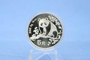 China 5 Yuan 1993 Panda  1/2 oz Silber *St/Bu * gekapselt