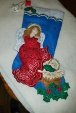 """completed bucilla christmas stocking 16"""" guardian angel"""