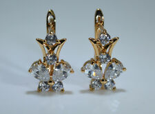 Ladies Hot White Sapphire 18K Yellow Gold Filled Party Mother day Gift Earrings