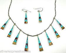 Multicolor & Fire Opal Inlay 925 sterling silver Southwestern Pueblo Necklace