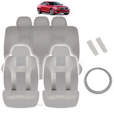 NEW ALL GRAY POLYESTER SEAT COVERS & STEERING COMBO 12PC SET FOR CARS 2325