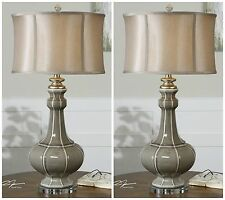 PAIR CRACKLED GRAY CERAMIC TABLE LAMPS IVORY SILVER ACCENTS CRYSTAL FOOT
