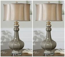Two Crackled Gray Ceramic Table Reading Lamps Ivory Silver Accents Crystal Foot
