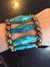 Designer Nest Genuine Chrysocolla & Shell Pearl Bronze Statement Bracelet 8 Inch