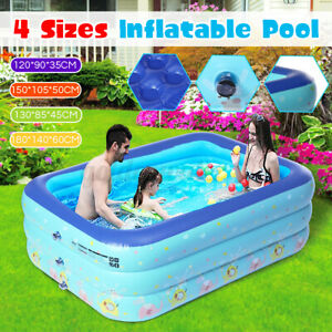 Large Kids Swimming Paddling Pool Inflatable Family Patio Garden Outdoor Tub