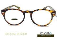 NWT$39.99 MIASTO PREPPY ~BIFOCAL~ RETRO NERD ROUND READER READING GLASSES