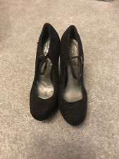 Women's Black Platform Wedge Shoes Size 7 By New Look
