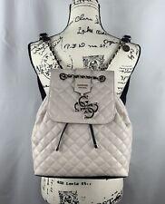 NEW GUESS Factory Women's Dulce Logo Embossed Large Beige Backpack Handbag