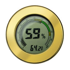 Digital Calibrateable Cigar Humidor Hygrometer Thermometer Round Gold 2.5 Inch