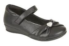U.S.Brass PAIGE Touch Fastening Diamante' Shoes Black Patent PU