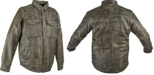 Mens Distressed Brown Soft Cowhide Leather Motorcycle Shirt w/Concealed Carry