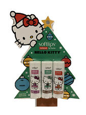 (Lot Of 8) Softlips Limited Edition Hello Kitty Lip Balm 3 Pack Holiday Flavors!